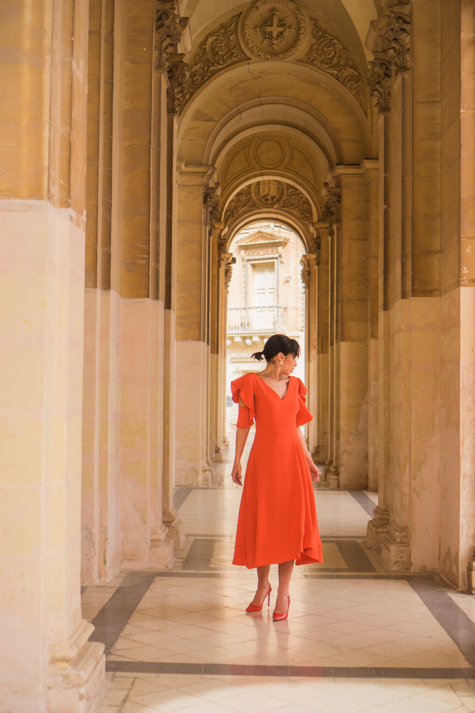 orange pedro del hierro dress carolnie paris malta